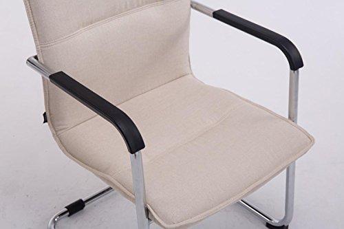 CLP Freischwinger-Stuhl mit Armlehne SEATTLE Stoff, Besucherstuhl, Konferenzstuhl gepolstert, Metall Creme - 6