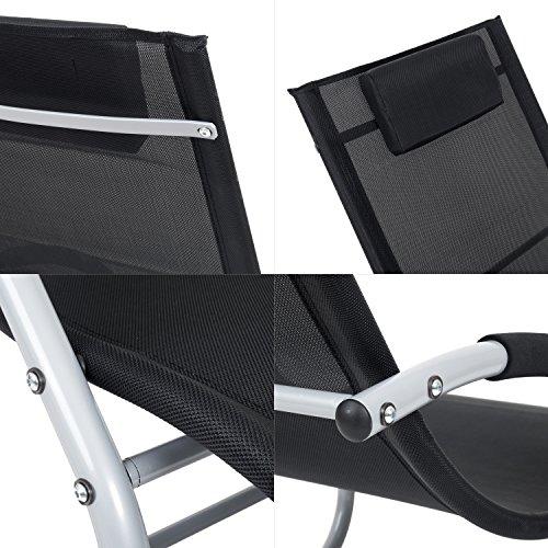 Outdoor Schwingstuhl Miami mit Armlehnen   Sonnenliege ergonomisch geschwungen   Freischwinger schwarz/grau   Gartenmöbel aus Alu und Textilene wetterfest - 3