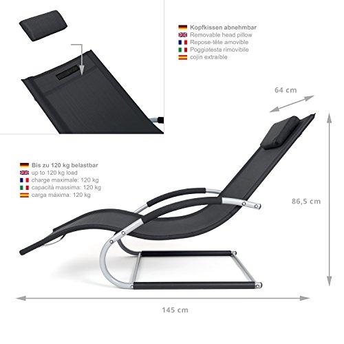 Outdoor Schwingstuhl Miami mit Armlehnen   Sonnenliege ergonomisch geschwungen   Freischwinger schwarz/grau   Gartenmöbel aus Alu und Textilene wetterfest - 4