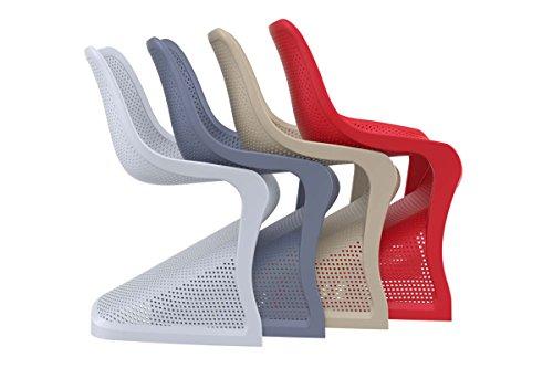 CLP Design Kunststoff-Stuhl BLOOM, XXL Gartenstuhl, Freischwinger Stuhl belastbar bis 160 kg Hellgrau - 6